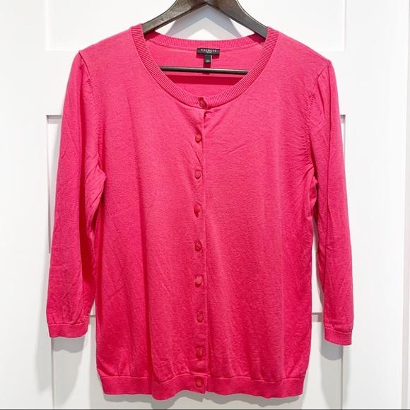 TALBOTS Petite Pink 3/4 Sleeve Cardigan Sweater